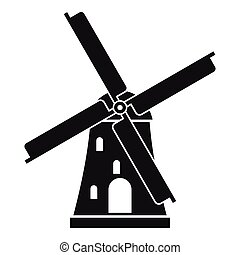 Ancient windmill icon, simple style - Ancient windmill icon....