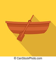 Wooden boat icon, flat style - Wooden boat icon. Flat...