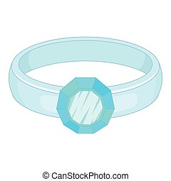 Ring icon, cartoon style - Ring icon. Cartoon illustration...
