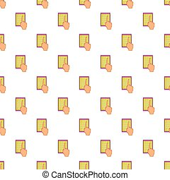 E-book and hand pattern, cartoon style