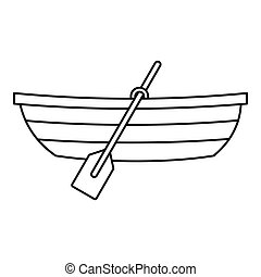 Boat with paddles icon, outline style - Boat with paddles...