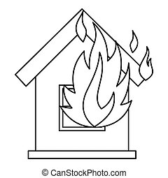 House on fire icon, outline style - House on fire icon....
