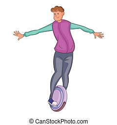 Man riding segway icon, cartoon style - Man riding segway...