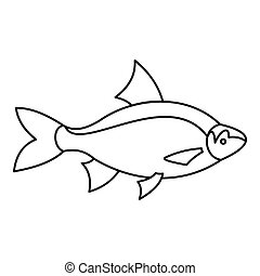 Fish icon, outline style - Fish icon. Outline illustration...