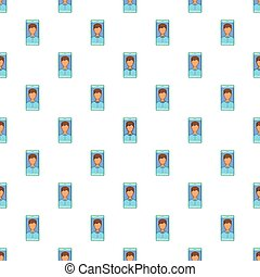 Photo in mobile phone pattern, cartoon style