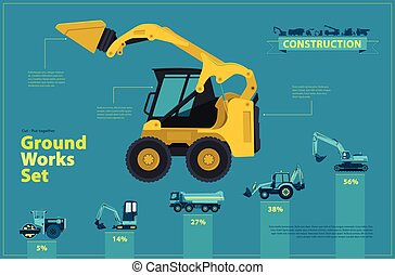 Yellow excavator. Blue infographic set, ground works blue...