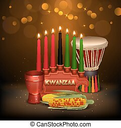 Kwanzaa Kinara Background Colorful Composition Poster -...