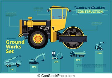 Yellow steamroller. Blue infographic set, ground works blue...