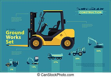 Yellow forklift. Blue infographic set, ground works blue...