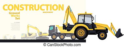 Yellow catalog set of ground works vehicles. Construction...