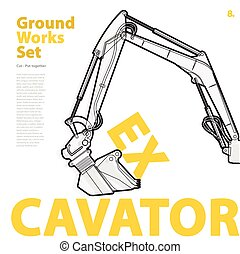 Construction machinery, excavator. Typography set of ground...