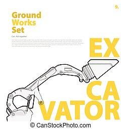 Excavator, yellow orange typography set of ground works...