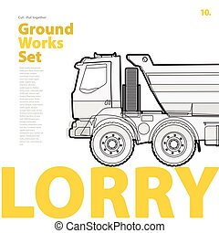Outline typography set with lorry. Outlined truck....