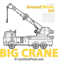 Crane, yellow and orange typography set of ground works...