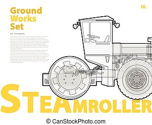 Concrete mixer truck. Typography set with roadroller....