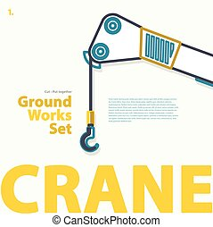 Crane, derrick, blue outlined typography set. Ground works....