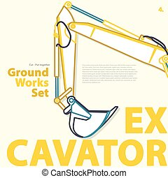 Outlined typography set, ground works, excavator vehicle....