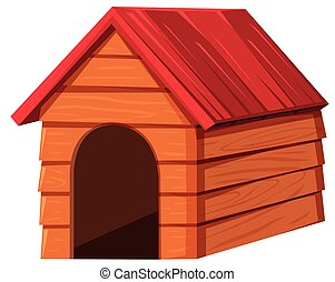 Doghouse with red roof illustration
