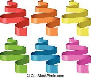 Ribbons in six different colors illustration