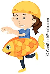 Kid in goldfish costume illustration