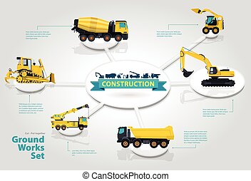 Construction machinery infographic isometric set of ground...