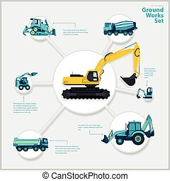 Construction machinery infographic big set of ground works...