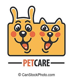Pet Care Logo with Dog, cat - Pet Care Logo with Dog and...