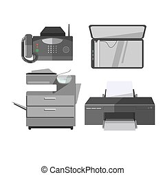 Vector icon of office tools. Digital electronic technology...