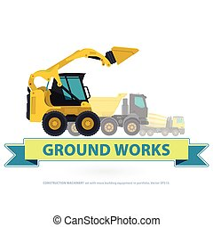 Construction machinery yellow set. Ground works with sign....