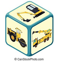 Playing isometric dice with costruction machinery, truck,...
