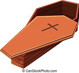 Wooden coffin with cross symbol