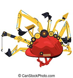 Construction machinery with red helmet. Yellow ground works...