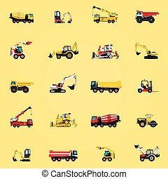 Wallpaper with construction machinery yellow set. Ground...