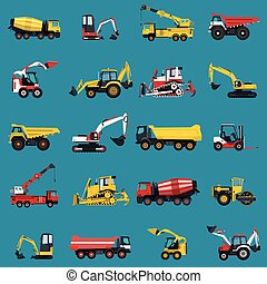 Wallpaper with construction machinery set on blue. Ground...