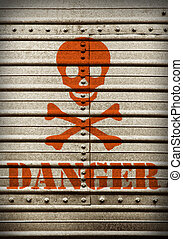 Steel plate with hazard symbol - Steel plate background with...