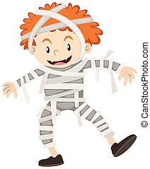 Little boy in mummy outfit illustration