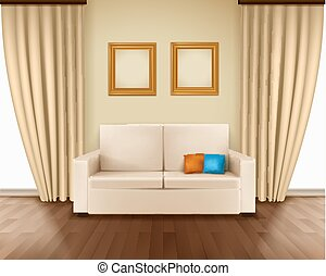 Realistic Room Interior - Realistic room interior with...