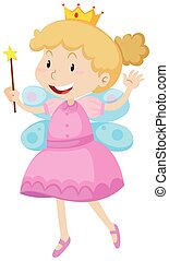 Little girl in fairy costume illustration
