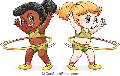 Two girls exercising with hulahoops