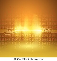 Stream of binary code with circuit board texture - Stream of...