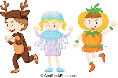 Three kids in costumes for halloween illustration