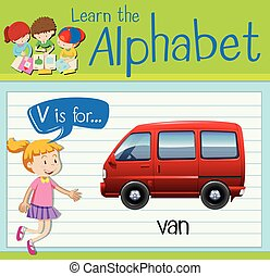 Flashcard letter V is for van