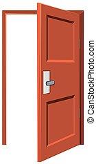 Wooden door being left opened
