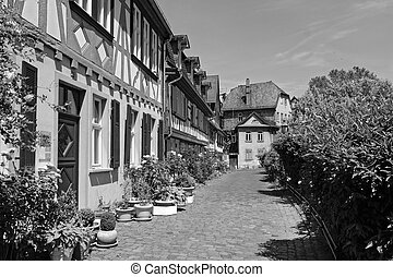historic old town Frankfurt-Hoechst with its half-timbered...