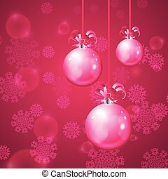Christmas balls on pink background with snowflakes