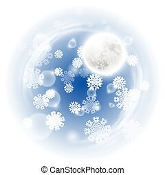 Winter night landscape with fullmoon