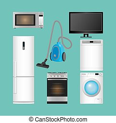 Set of household appliances. Modern kitchen devices. - Set...