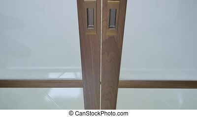 Close up of slide wooden door