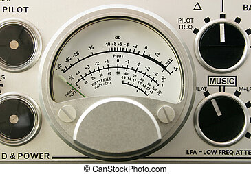 Audio level meter close - Sound meter on tape recorder