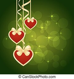Wonderful Valentines background with Gold Hearts. Vector...